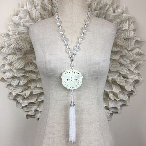 Carved Peacock Medallion Necklace With Tassel